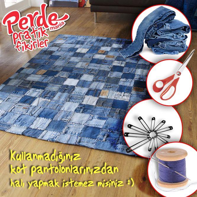 Eskiyen kot pantolonlarınızdan halı yapmayı düşünmez misiniz? Fikirlerimiz kadar pratik perdelerimize de göz atmak için www.perdemania.com.tr 'yi ziyaret edin :)  #pratik #fikir #practical #ideas #perde
