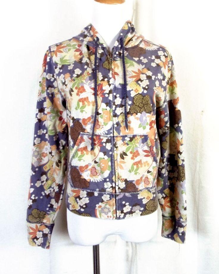 euc Lucky Brand ladies VINTAGE FADED LOOK Floral Zip Up Hoodie Sweatshirt M #LuckyBrand #Hoodie