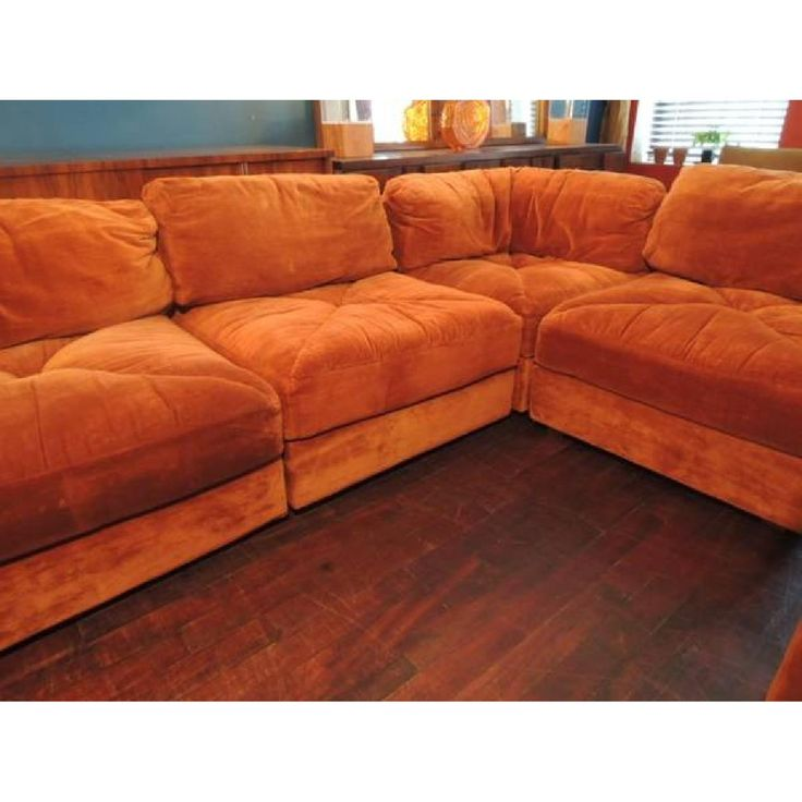 Orange Velvet Sectional Couch | Rocking Chairs And More | Pinterest | Sectional  Couches, Rocking Chairs And Mid Century