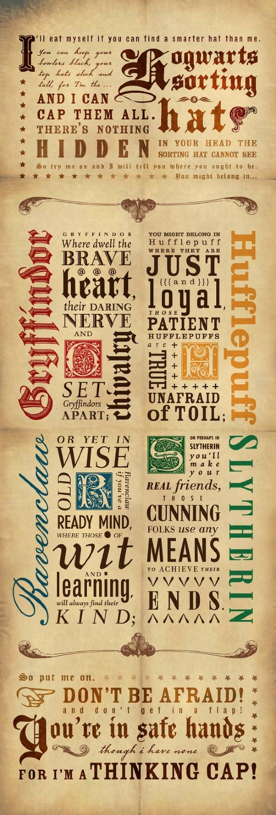 sorting hat song typography