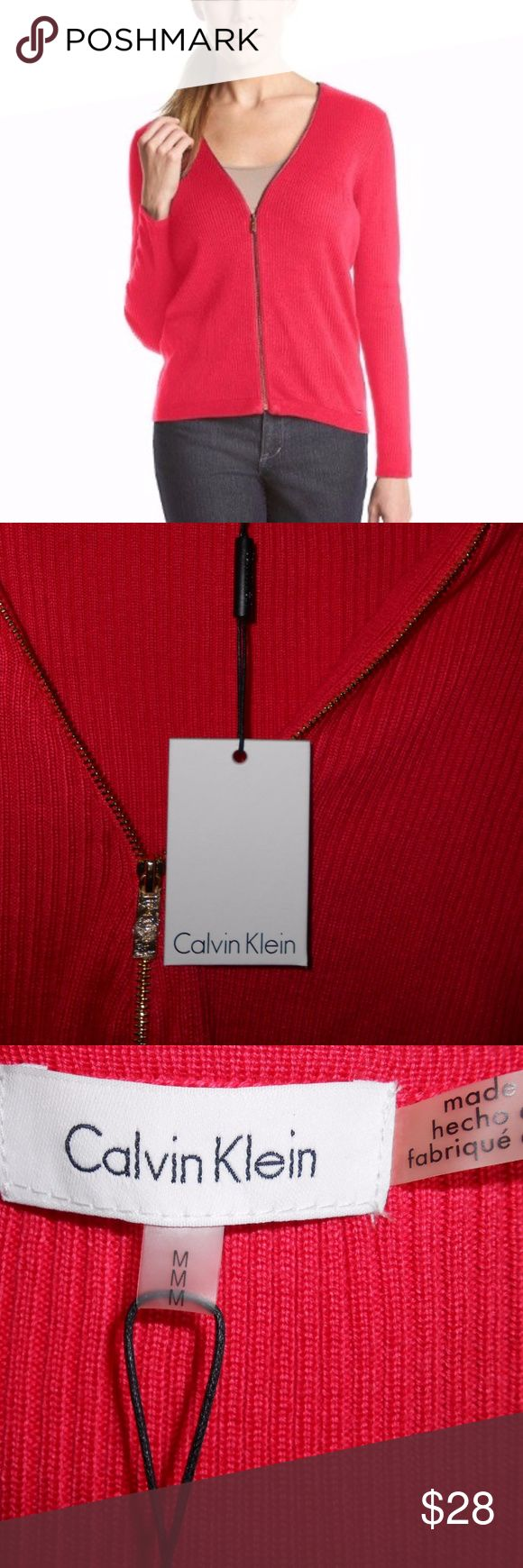 Calvin Klein Zip Front Cardigan Acrylic V-neck Long sleeves Zip front closure Allover front ribbing detail on bodice watermelon color Calvin Klein Jackets & Coats