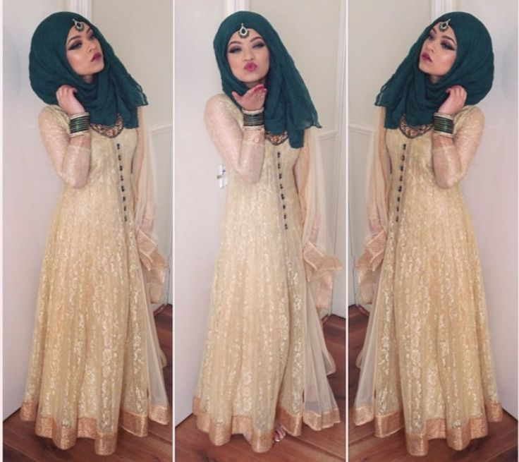 Cream beige & green scarf. I like this color combination and the texture of the shalwar kameez - anarkali style