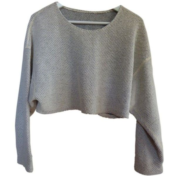 SHORT SWEATER AMERICAN APPAREL (€43) ❤ liked on Polyvore featuring tops, sweaters, shirts, shirt top, short sweater, short tops, shirt sweater and cotton sweaters