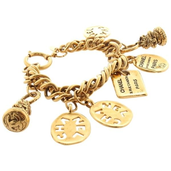 Pre-owned Gold colored bracelet ($765) ❤ liked on Polyvore featuring jewelry, bracelets, gold, gold jewellery, pre owned jewelry, chanel pendant, preowned jewelry and chain link jewelry