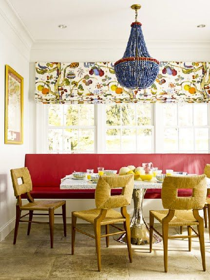 I adore this by Katie Ridder. Love the Josef Frank Roman shade, and that chandelier!!!