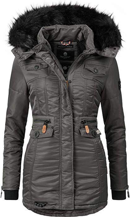 d2dcef49aa63 Navahoo Damen Winter-Jacke Winter-Mantel Steppmantel Schätzchen (vegan  hergestellt) Anthrazit Gr