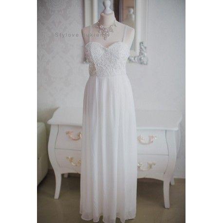 Biała długa sukienka ślubna gorsetowa na ramiączkach z szyfonu