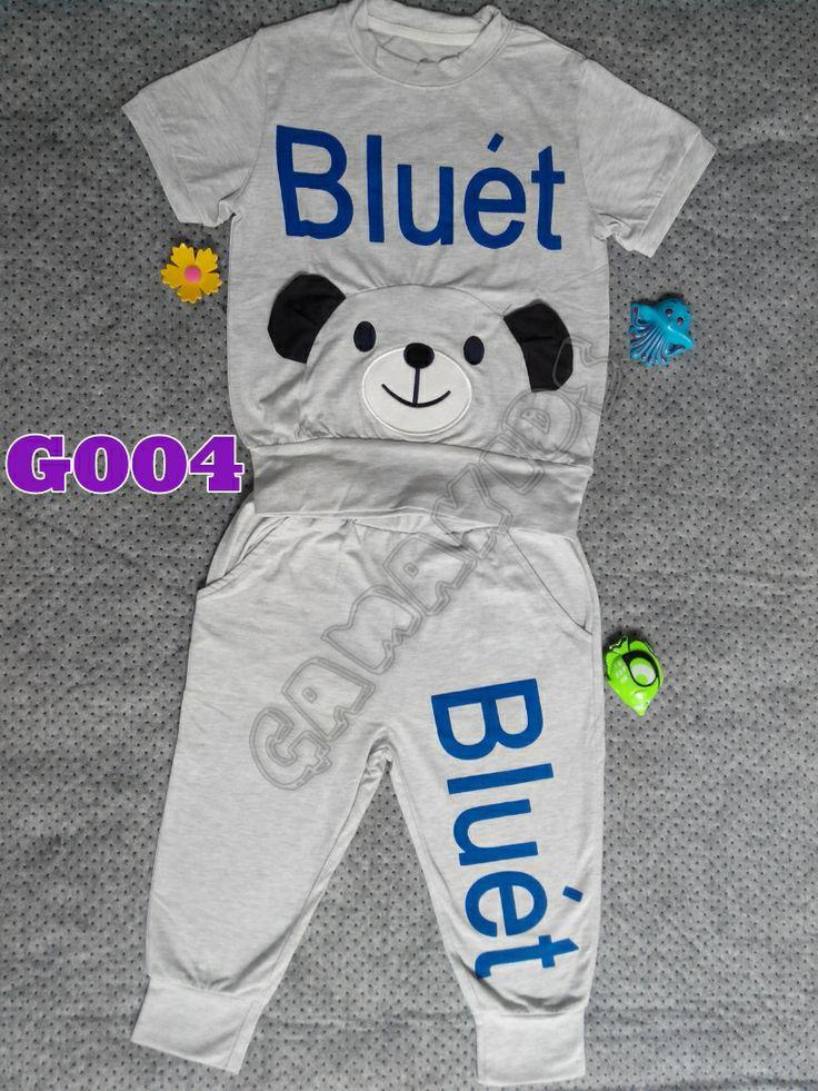 GW 72 Beruang Abu-abu Bluet Set Celana Berkantong (G004) || Size 130 (5-6 tahun) || IDR 75.000