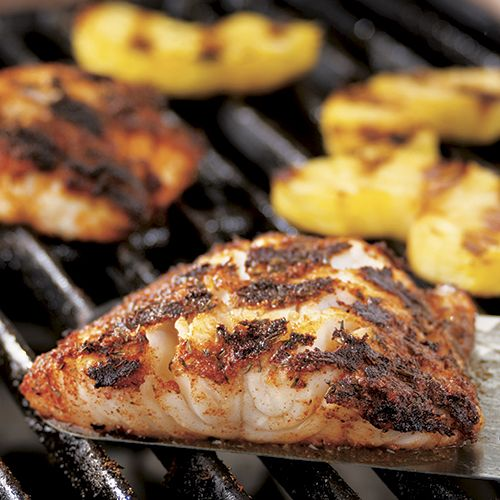 Perfect for the grill outdoors or Double Burner Grill Pan indoors...Blackened Cod with Grilled Pineapple - The Pampered Chef®
