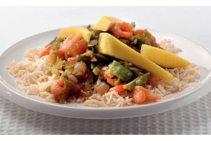 Kijk wat een lekker recept ik heb gevonden op Allerhande! Indiase rijst met mango en garnalen