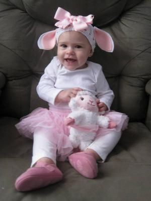 Mary's little lambs: My granddaughter needed a comfortable costume to watch the Disney Parade in. Her Mom put together a lamb costume because her special toy is Lambie.