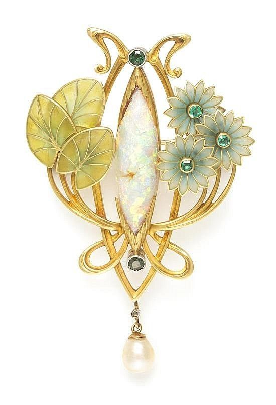 An Art Nouveau Platinum Topped Gold, Opal, Emerald, Pearl and Polychrome Plique-a-Jour Enamel Pendant/Brooch