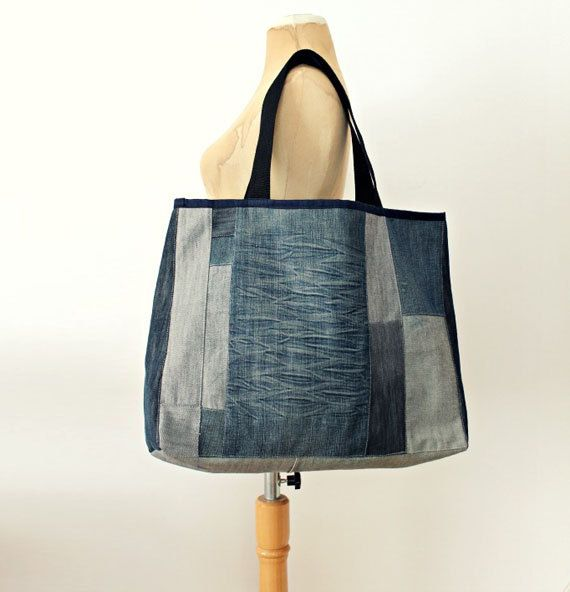 Ooak Large Denim Tote Bag No.19 by LoveandKnit on Etsy