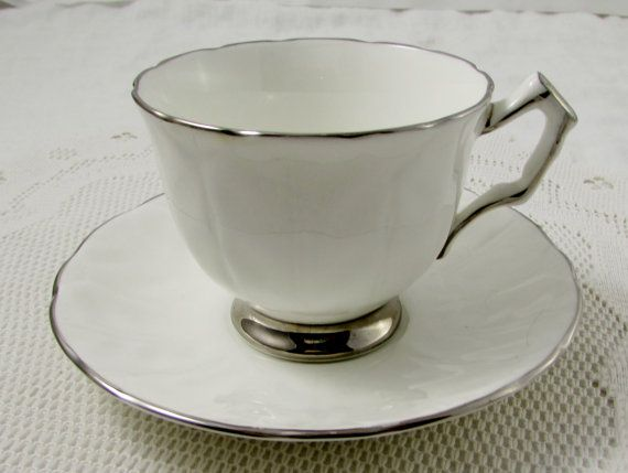 """Aynsley """"Spring Crocus"""" White Tea Cup and Saucer with Silver Trim, Vintage Bone China"""