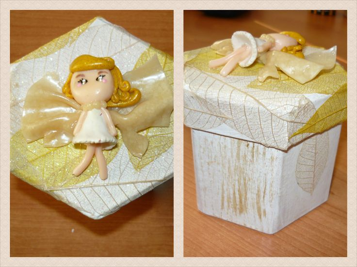 #Polymer #clay #angel #doll applied on a #box (#decoupage technique).