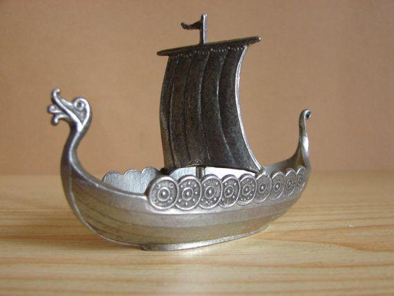 Vintage Minature Pewter Viking Ship Boat Salt Cellar