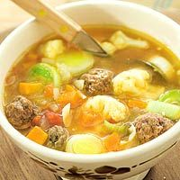 Dutch Meatball Soup:  3 cans10 oz beef stock  -   10 cups water   -  3  leeks, chopped  -   1-1/2 cups chopped celery, -   1-1/2 C  chopped carrots  -   1 lb  lean ground beef  -   1/2 C  dry bread crumbs -   2 tbsp  parsley  -    salt     pepper   -  1 pinch nutmeg   -  1 cup  fine egg noodles  -   1 tbsp  soy sauce   -  1 tsp Worcestershire sauce