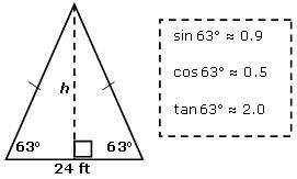 Find the approximate height (h) of an isosceles triangle whose base length is 24 feet and whose base angles are 63°. [correct answer: 24.0 feet] [Summit Learning]