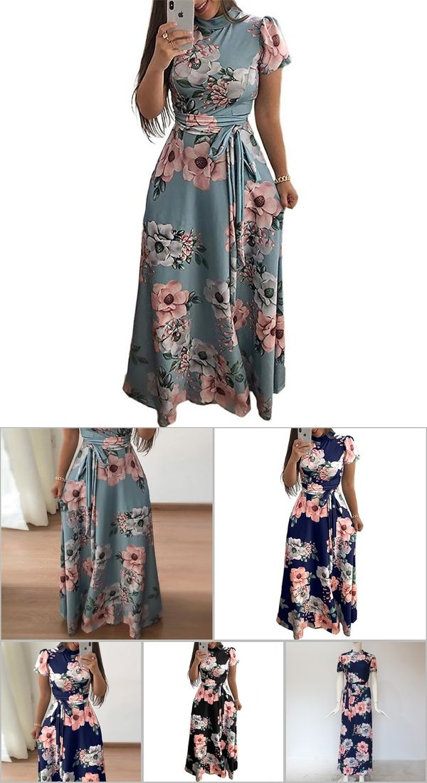 af814a4faf Women Long Maxi Dress 2019 Summer Floral Print Boho Style Beach Dress  Casual Short Sleeve Bandage