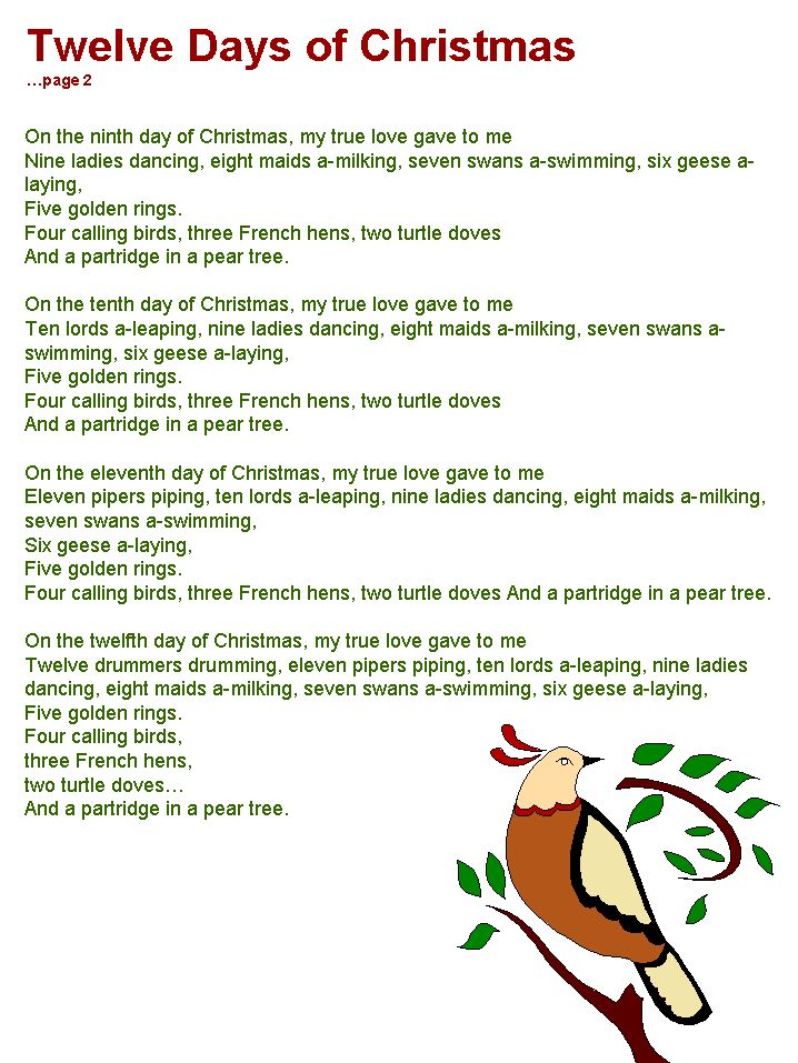Selective image with regard to twelve days of christmas lyrics printable