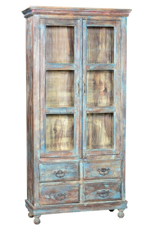 Coloured teak wood display cabinet with for Reproduction kitchen cabinets