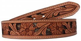 Mens - Hand-Tooled - Double J Saddlery Belt - B788A-Floral Tooled Inlayed Belt