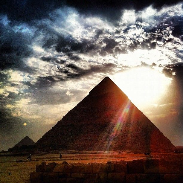 A pretty dramatic view of the sun behind Giza's Great Pyramid.