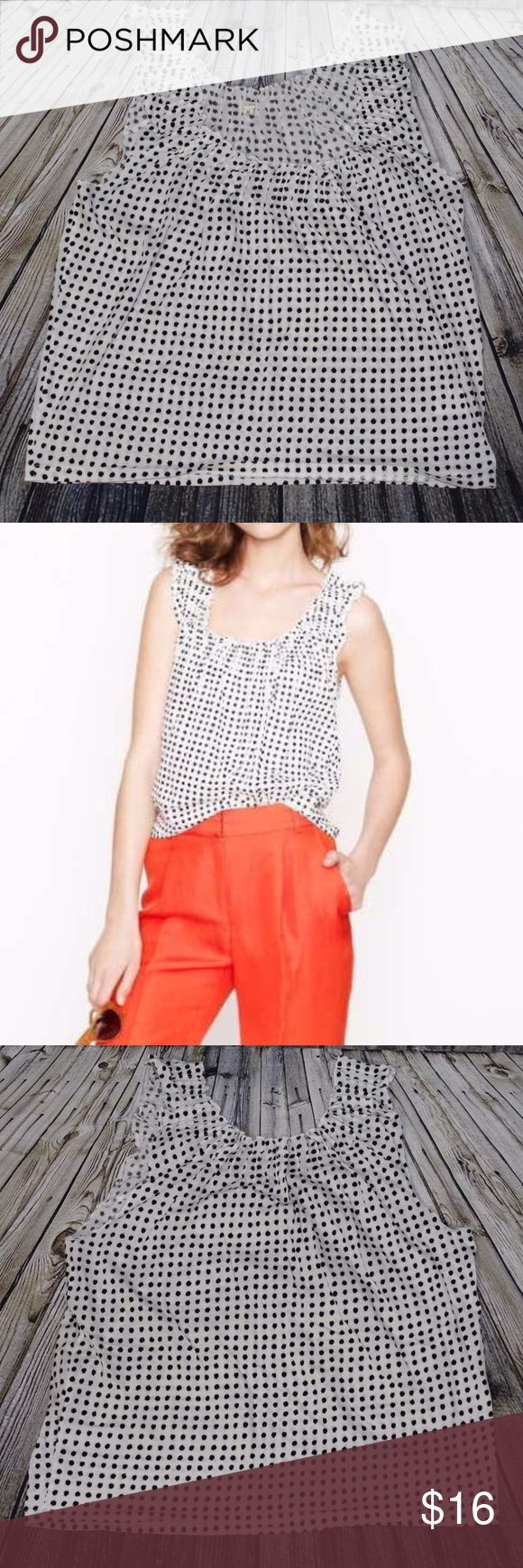 J. Crew M Smocked Top Dapple Polka Dot Tank J. Crew Smocked Top in Dapple Dot Size M 100% Cotton MEASUREMENTS Length: 22 inches Bust: 40 inches Please contact me with any questions. Thanks! J. Crew Tops Tank Tops