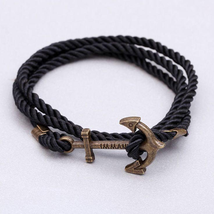 New men bracelet pulsera hombre Hooks anchor bracelet men plaiting bracelets men bijoux Wrap Bracelet & Bangles 2015 new jewelry