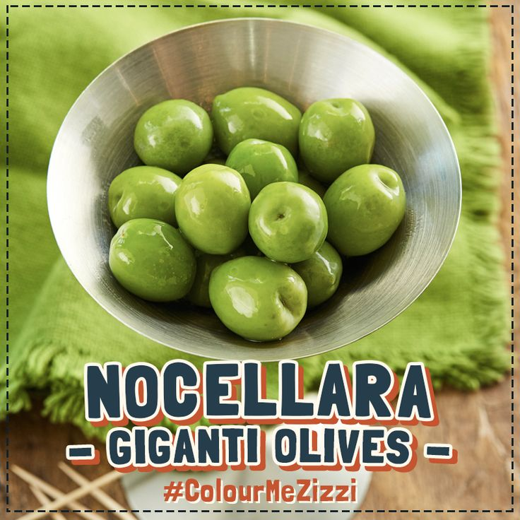 Nocellara Giganti Olives Giant bright green olives sourced from Trapani, Sicily, served naked. The most sought after olives in the world, some say. #ColourMeZizzi
