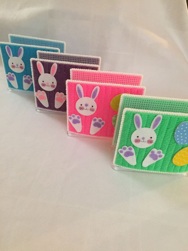 Easter – Bunny – Napkin Holder – Holiday – Plastic Canvas – Handmade – Gift – Hand Stitched