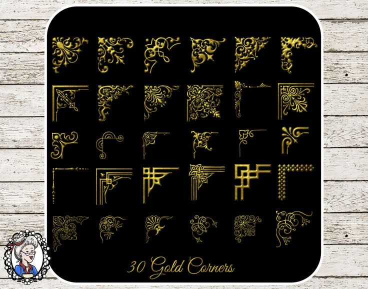 Clipart: 30 Corners in Black Gold Silver for Wedding Decorative Calligraphy Photographer Frame Corners - 90 PNG,EPS,PSD by NanaVicsDigitals on Etsy