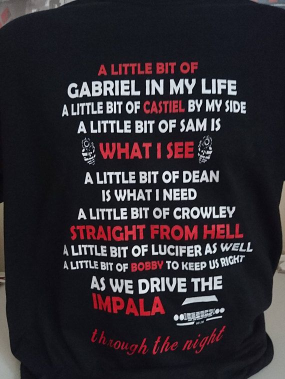 Supernatural Tshirt, Sam Winchester, Dean Winchester, Hunters, Winchester Brothers, Geek Gift, Geek Tshirt, Chevy Impala **OUR BEST SELLING AND MOST FAVOURITED TSHIRT OF ALL TIME! Read it, Sing it, Wear it!** Do you LOVE Supernatural? Then we have more related designs here! >>>>> https://www.etsy.com/shop/IWGCustoms/search?search_query=supernatural&search_type=user_shop_ttt_id_12534208&ref=auto2&as_prefix=supernatural&a...