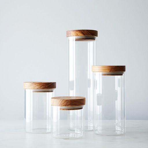 glass jars with wood lids set of 4 - Glass Containers With Lids
