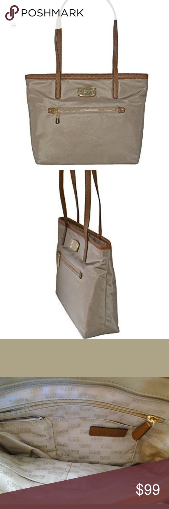 """Michael Kors Montauk Nylon Med Tote shoulder Michael Kors Montauk Nylon Medium Tote  Color: Dusk, Khaki, Brown  Fabric: Nylon  Recessed top zippered closure  Exterior front zippered compartment  Interior: 4 Slip pockets; 1 rear wall zippered compartment  Measurements: 10"""" High x 13"""" Long x 4"""" Deep  2 Handled straps: 10.5"""" Drop  Retail: $128 Michael Kors Bags Totes"""