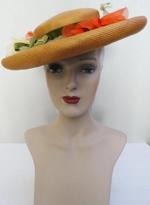 e49bc3a958403d Vintage 1950s Hat //50s Hat//Silk Floral Hat//Designer// Femme Fatale//Mad  Men//Rockabilly//Designer Hat//BernClaire Original//