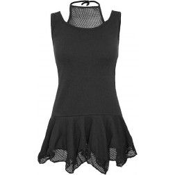 SPIRAL - 2in1 Meshvest Dress Blk - Vestito