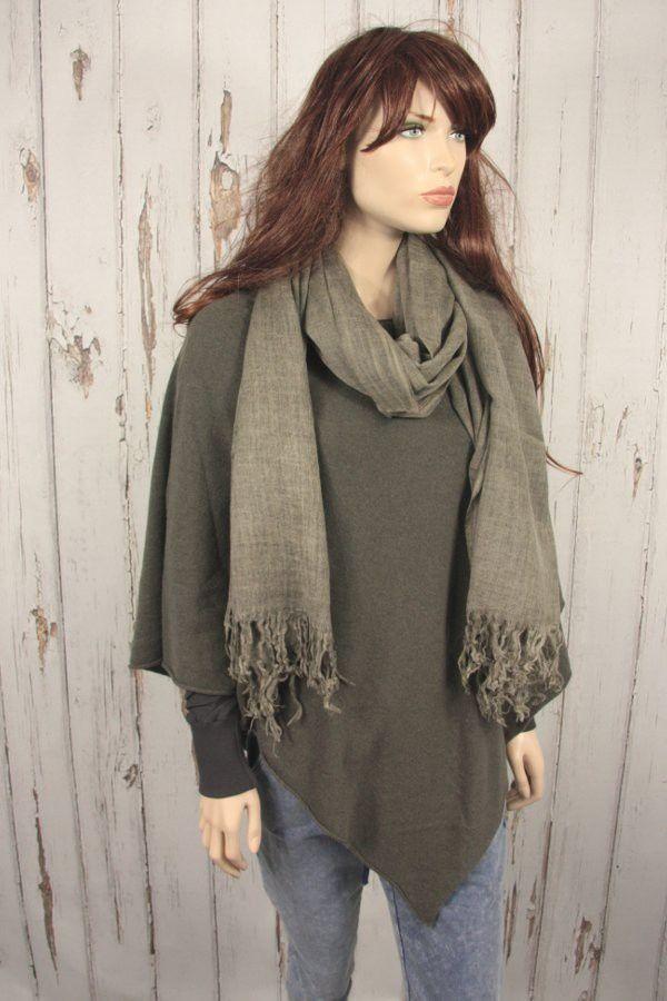 Tif-Tiffy grote basic shawl wol army