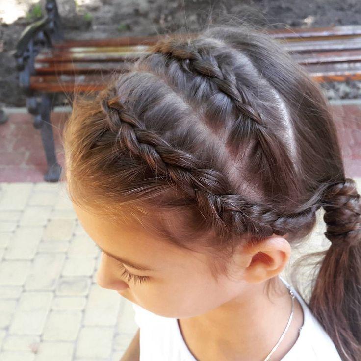 Две голландские косы вокруг хвоста + ободок из кос // Two dutch btaids around ponytail