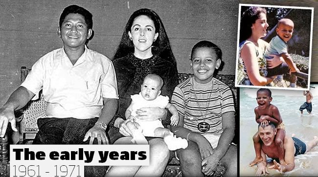 Barack Obama spent his childhood in the 1960s in both Hawaii and Jakarta after his mother Ann Dunham (pictured) remarried. In the 1970s Obama returned to live with his maternal grandparents in Hawaii where he excelled in scholarly pursuits. One family portrait shows Obama, 9, with his mother Ann, his Indonesian stepfather Lolo Soetoro, and his baby sister Maya Soetoro in Jakarta, Indonesia. Pictures: AP