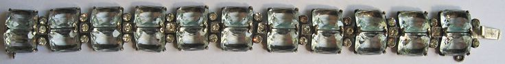 GORGEOUS DECO VINTAGE 30'S STERLING SILVER FACETED CRYSTAL & RHINESTONE BRACELET