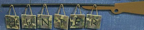 6 letters CAMO Decor  Wall Letter  gun for Holder  by OurLittleMan, $46.00