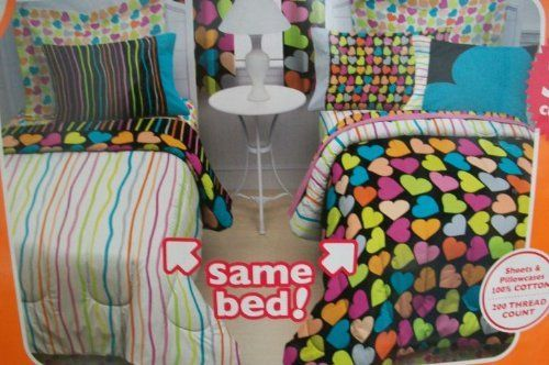"Little Miss Matched Queen Zany Hearts Bed In A Bag by Little Miss Matched. $169.99. 1 Queen Comforter 86"" x 92""/ 1 Queen Bed Skirt 60"" x 80""/60% Cotton, 40% Polyester. 1 Queen Flat Sheet 90"" x 102""/ 1 Queen Fitted Sheet 60"" x 80""/ 100% Cotton. 11"" Pillow/ 100% Polyester. 3 Standard Pillowcases 20"" x 30""/ 100% Cotton. Little Miss Matched Queen Zany Hearts Bed In A Bag. Little Miss Matched Complete bed set flips, switches, and reverses to make 384 different combinatio..."