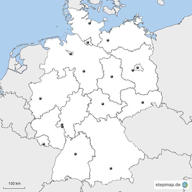 deutschland bundesl nder hauptst dte schule karte deutschland landkarte und bundesland. Black Bedroom Furniture Sets. Home Design Ideas