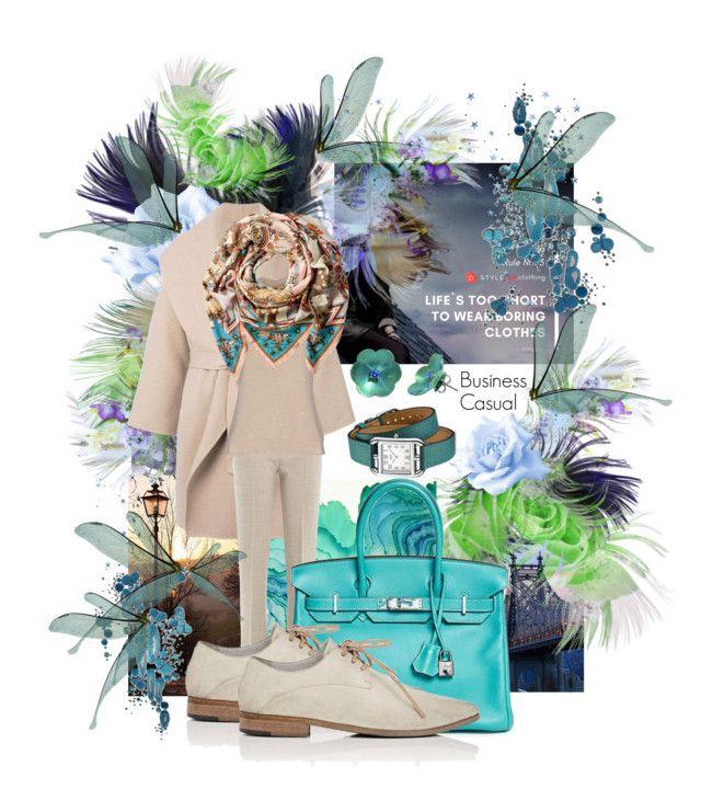 """Smart/Business Casual Outfit"" by mariahelena-loik ❤ liked on Polyvore featuring Komar, Rob Wynne, Hermès, Bottega Veneta, MaxMara, Ralph Lauren Black Label and Marsèll"