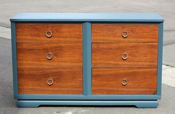 Best Painted Teal Vintage Mid Century Modern Wood 6 Drawer 400 x 300