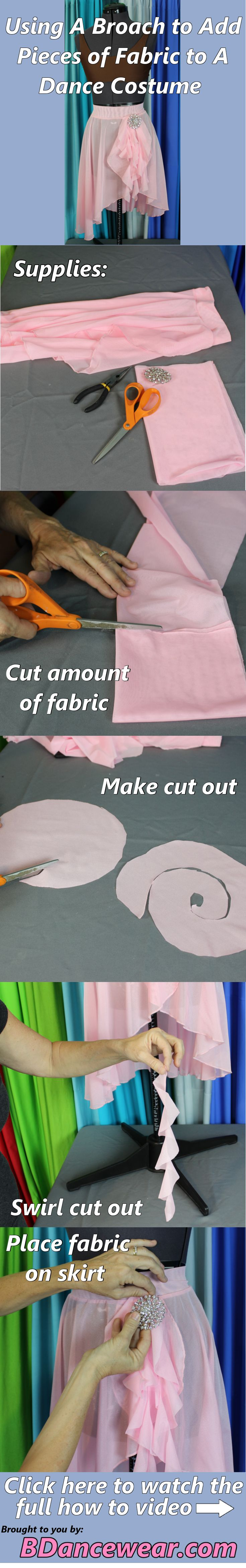 How to use a broach to add pieces of fabric to a dance costume.
