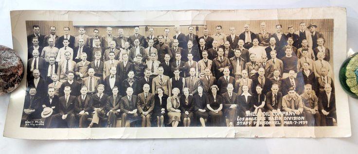 Vinatge 1939 SHELL OIL COMPANY Los Angeles Basin Employees PANORAMA Photograph