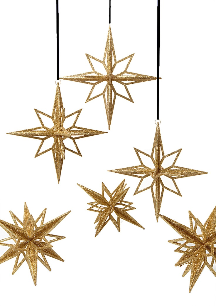Sage & Co.   Set of 6 Glitter North Star Ornaments