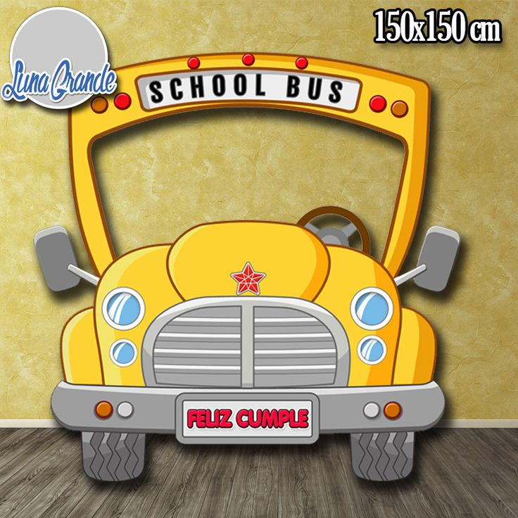 Photocall infantil Autobús escolar 150 x 150 cm personalizado  o genérico, ideal para las fiestas de cumpleaños de los más pequeños. https://lunagrande.es/producto/photocall-autobus-escolar-infantil/